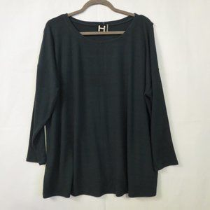 H by Bordeaux sweater 1X NEW Green Wrap back Pullover Ribbed knit Stretch womens